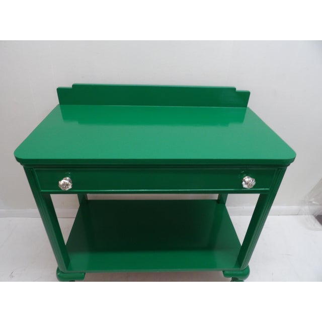 Antique Green Lacquer Wood Console Table For Sale - Image 4 of 11