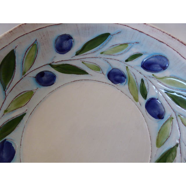 Vintage Blue/Green Italian Hand Crafted Serving Bowls - Set of 3 For Sale - Image 4 of 8