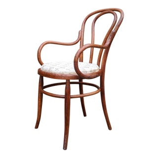 Antique Authentic Michael Thonet Bentwood Beech Bistro Captains Chair For Sale
