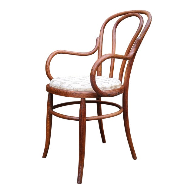 Antique Signed/Marked Michael Thonet Bentwood Beech Bistro Captains Chair For Sale
