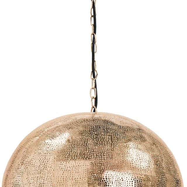 Not Yet Made - Made To Order Pierced Metal Sphere Pendant in Natural Brass For Sale - Image 5 of 9