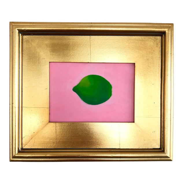 Contemporary Lime on Pink Still Life Framed Painting For Sale