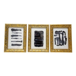 Black and White Abstract Art Set of 3, Framed For Sale