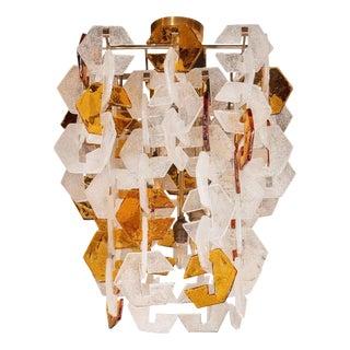 Mid Century Modern Mazzega Murano Interlocking Amber & White Glass Chandelier For Sale