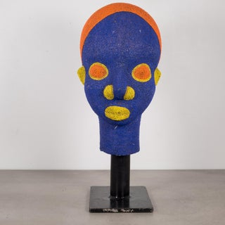 Bamun Cameroon African Beaded Head on Custom Stand Preview