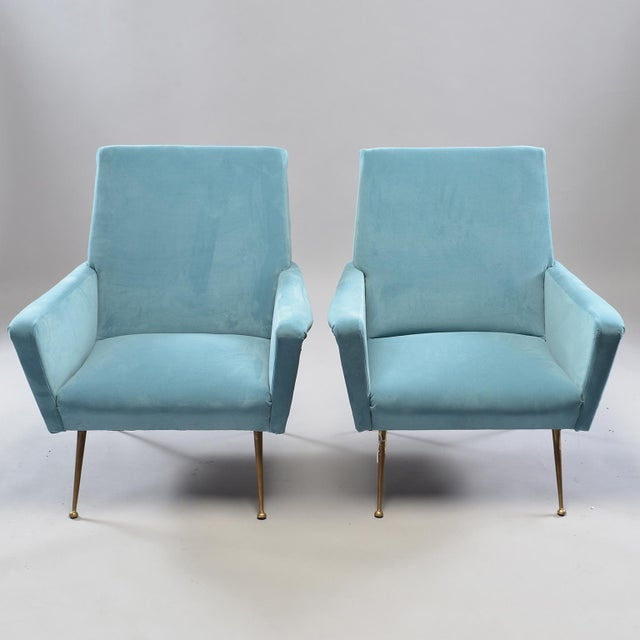 Fabric Mid-Century Italian Arm Chairs With New Sky Blue Upholstery - a Pair For Sale - Image 7 of 11