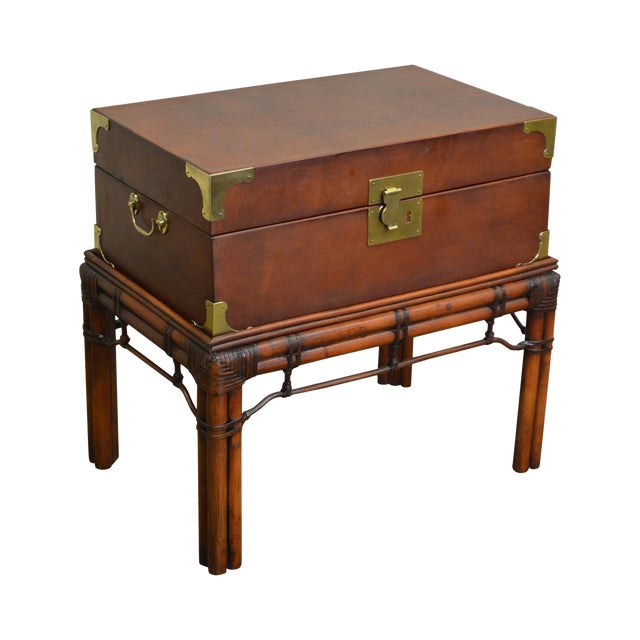 Craftwork Gilt Campaign Style Lidded Accent Chest on Bamboo Frame For Sale