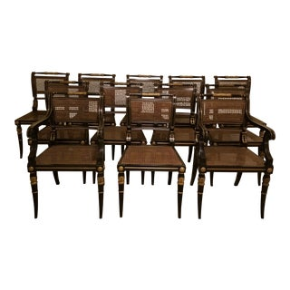 Baker Stately Homes Collection Regency Dining Chairs - Set of 12 For Sale