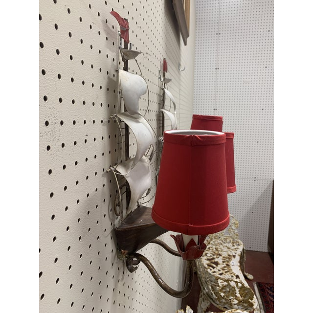 Mid-Century Modern Vintage 1960s Mid-Century Modern Arm Metal Ship Sconces - a Pair For Sale - Image 3 of 8