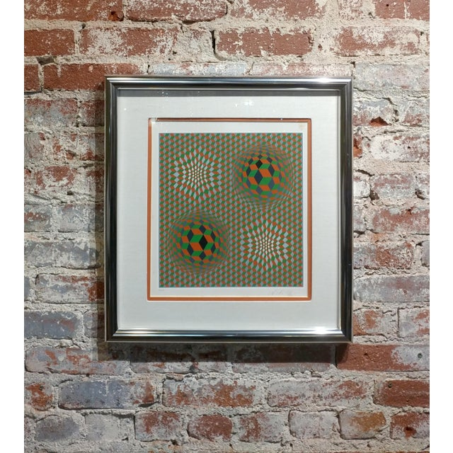 Vintage Victor Vasarely Geometric Abstract Serigraph, Signed For Sale - Image 10 of 10