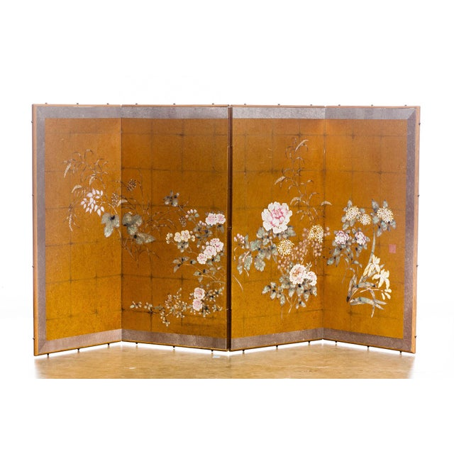 "Lawrence & Scott Japanese Style ""Summer Garden"" Four-Panel Gold Foil Original Painting Hanging Screen For Sale - Image 9 of 9"