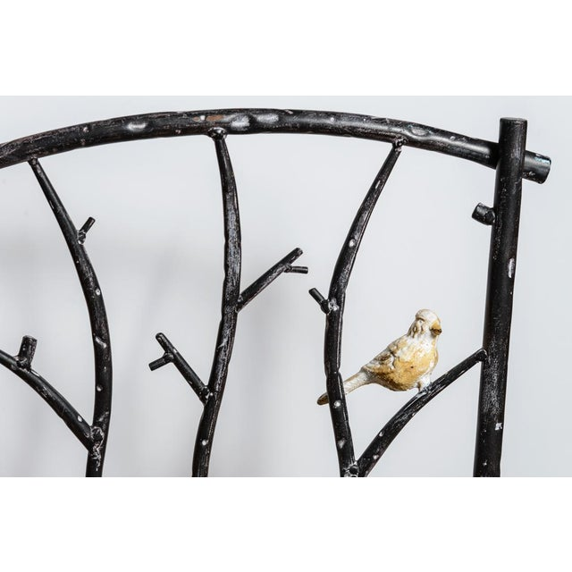Diego Giacometti Vintage Faux Bois Wrought Iron Chair With Birds on Branches For Sale - Image 4 of 13