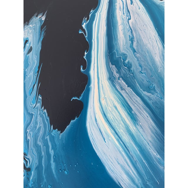 Abstract Modern Blue Acrylic on Canvas Painting For Sale - Image 3 of 4