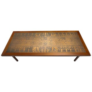 Mid-Century Danish Modern Copper and Teak Cocktail Table with Egyptian Revival Motif For Sale