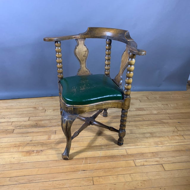 Late 19th Century Continental Corner Chair, Green Leather For Sale - Image 10 of 10