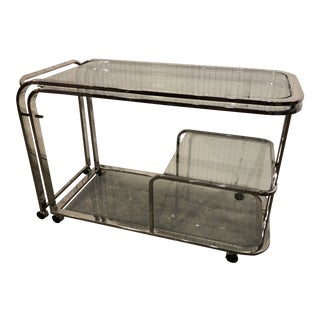 Design Institute of America Chrome Bar Cart For Sale