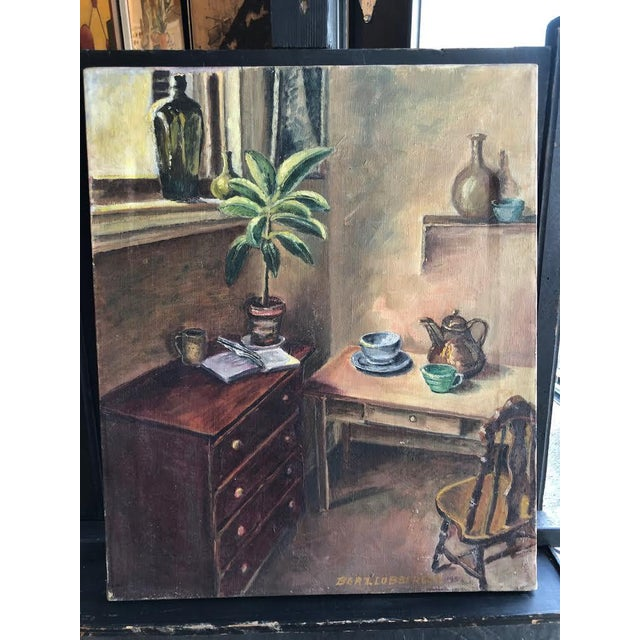 "Sitting Room Still Life Painting Signed ""Bert. Lobberegt 1952"" For Sale - Image 10 of 10"