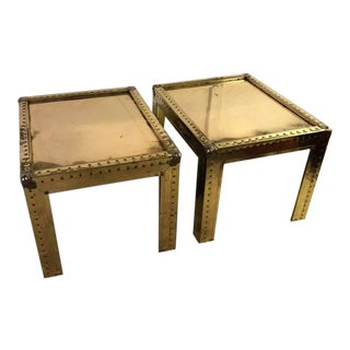 1970s Mid Century Modern Riverted Brass End Tables - a Pair For Sale