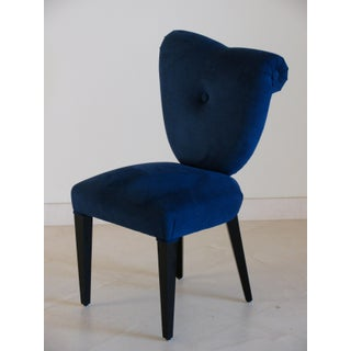 I4 Mariani Marcia Dark Blue Suede & Black Wood Italian Modern Dining Chairs - Set of 6 Preview