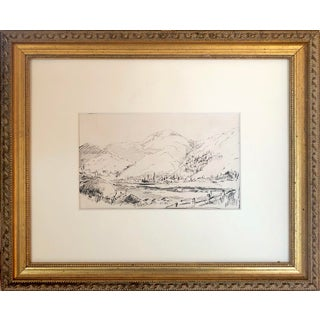 19th Century Pen & Ink Landscape With Mountain Town For Sale