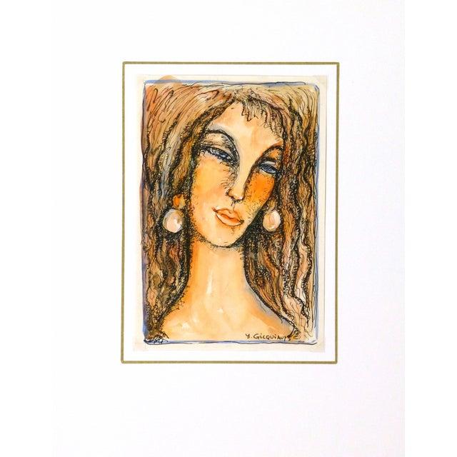 Vintage Female Portrait Watercolor Painting - Image 5 of 5