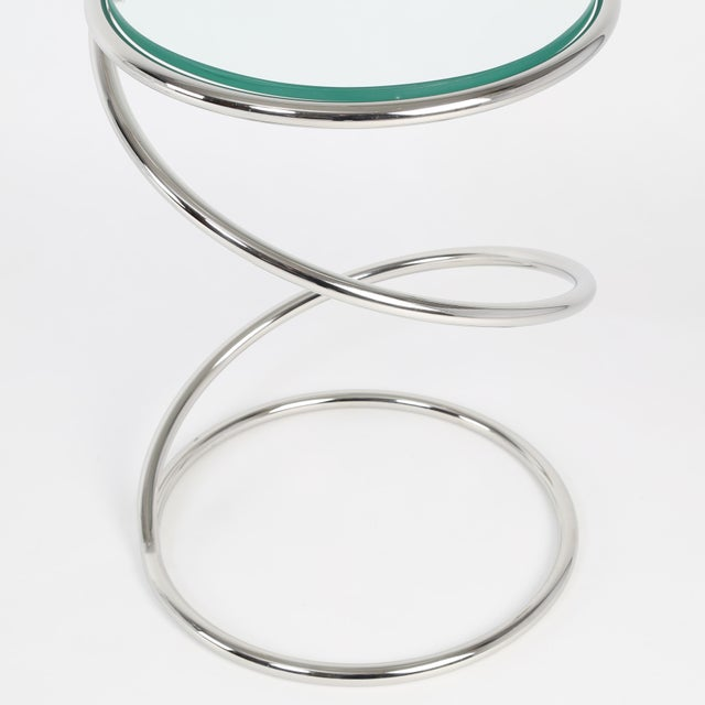 Glass 1970's VINTAGE PACE COLLECTION CHROME SPRING SIDE TABLES- A PAIR For Sale - Image 7 of 11