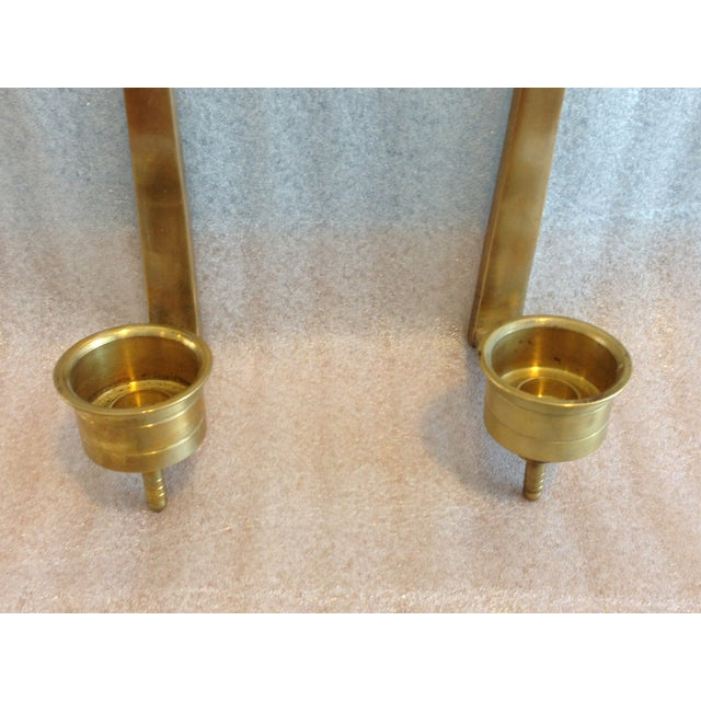 Brass Wall Candle Holder Sconces - Pair - Image 4 of 7