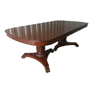 Duncan Phyfe Traditional Satinwood Banded Mahogany Dining Table For Sale