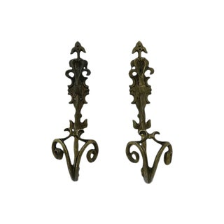 Antique French Bronze Wall Hooks - Pair For Sale