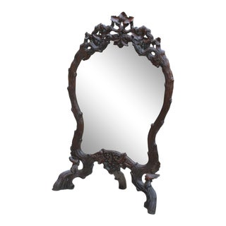 Antique French Oak Black Forest Framed Wall or Easel Standing Mirror Firescreen For Sale