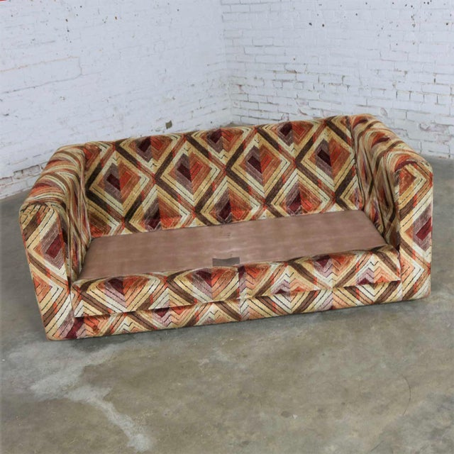 Tuxedo Mod Loveseat Sofa in Jack Lenor Larsen Style Fabric For Sale - Image 11 of 13