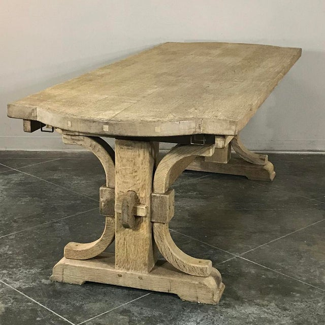 Country Antique Country French Provincial Stripped Oak Trestle Table For Sale - Image 3 of 11