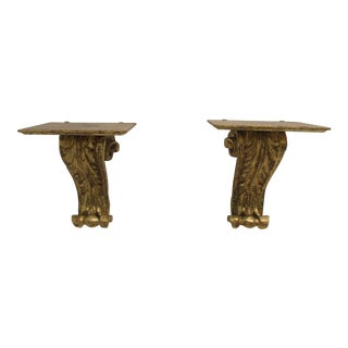 Vintage Florentia Italian Regency Gold Gilt Hanging Wall Shelf Sconces - a Pair For Sale