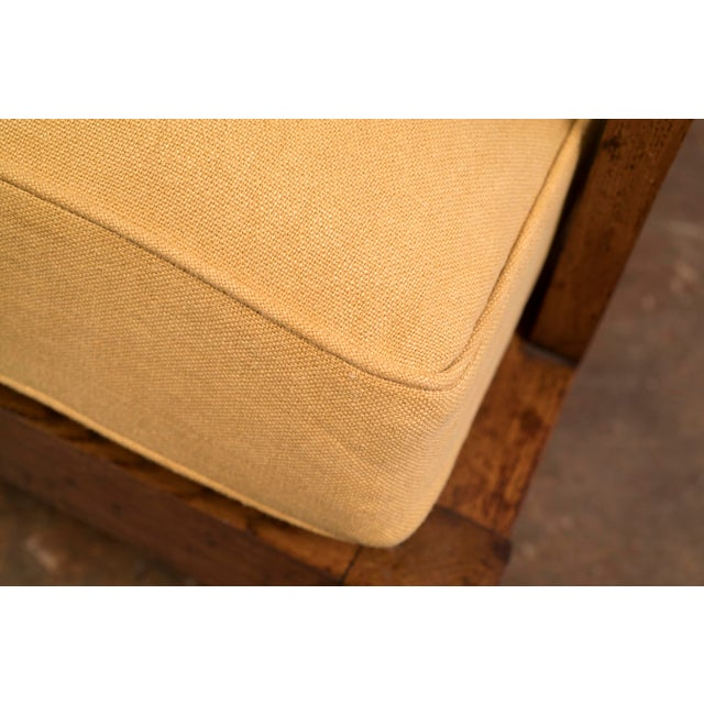 Pair of French Lounge Chairs in Oak and Belgian Linen, 1940s For Sale - Image 10 of 13