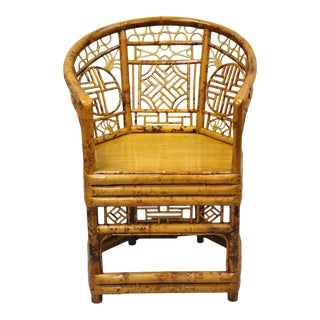 Vintage Chinoiserie Bamboo Oriental Throne Lounge Arm Chair For Sale