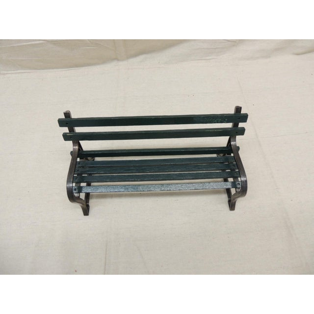 "Mid-Century Modern Vintage Metal and Wood ""Salesman"" Sample of Park Bench For Sale - Image 3 of 5"