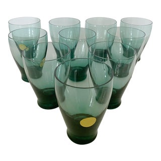Mid-Century American Modern Hand-Blown Smoked Glass Lowball Glasses by Russel Wright - Set of 10 For Sale