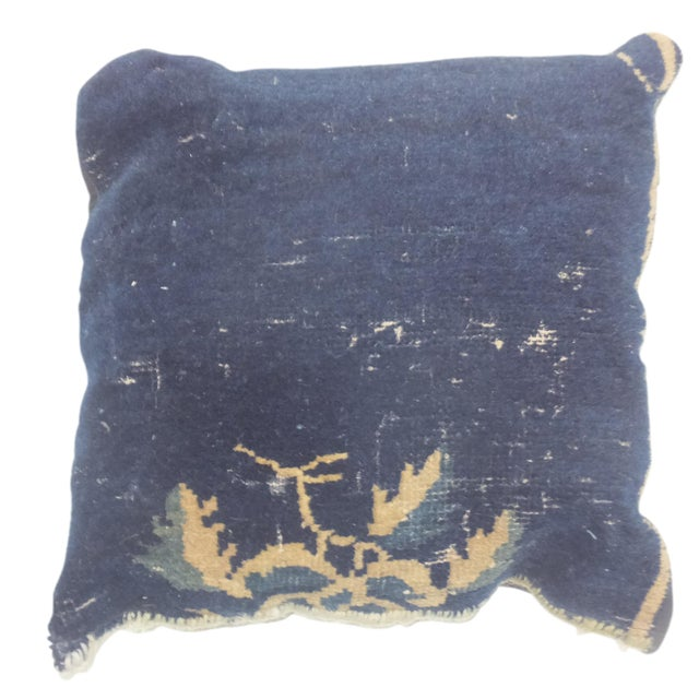 "Leon Banilivi Antique Chinese Navy Pillow, 1'6"" X 1'6"" For Sale"