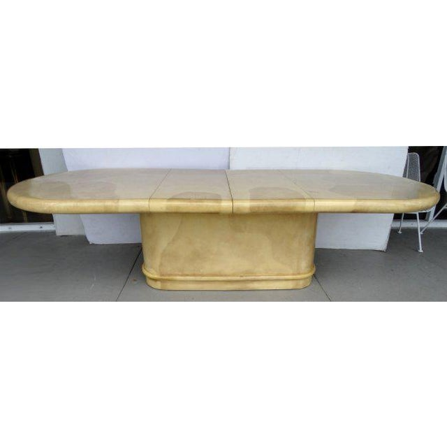 Paper Karl Springer Attributed 1970's Lacquered Goatskin Extension Table For Sale - Image 7 of 7
