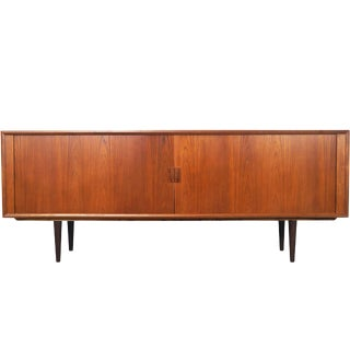 Danish Teak Tambour Door Credenza by Svend A. Larsen For Sale