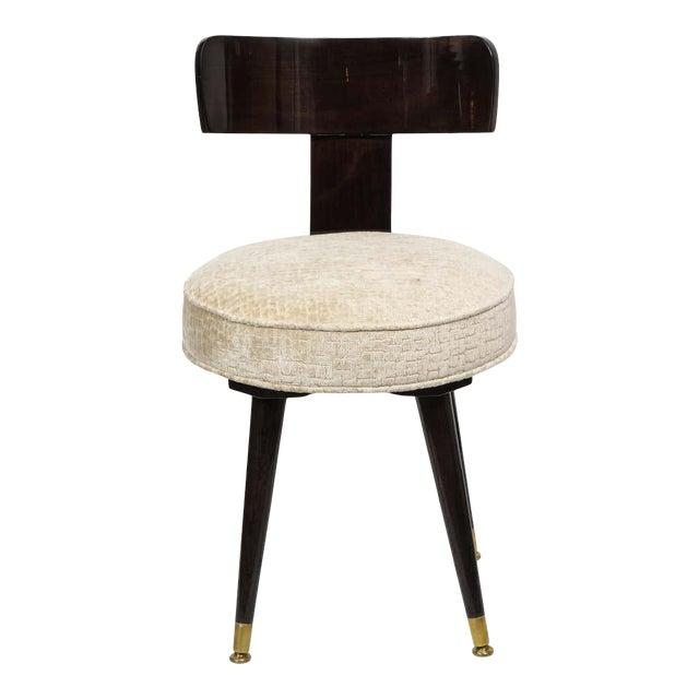 Mid-Century Modern Ebonized Walnut and Gauffraged Oyster Klismos Vanity Chair For Sale