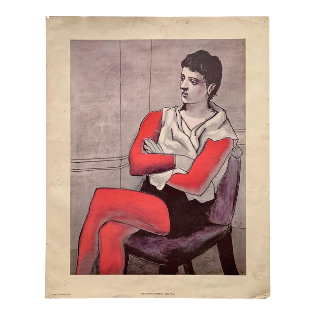 """1970s Vintage Pablo Picasso """"The Seated Acrobat"""" Lithograph Print For Sale"""