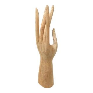 Vintage Bohemian Wood Human Hand Sculpture For Sale