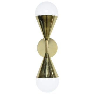 Ancora VIII Contemporary Brass Double Wall Light, Flow Collection For Sale