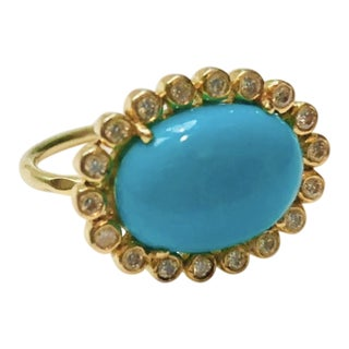 New Contemporary Designer Diamond and Turquoise 18 Karat Gold Ring For Sale