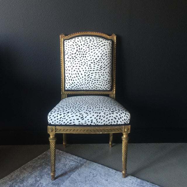Fabric Gilt Antique Side Chair For Sale - Image 7 of 7