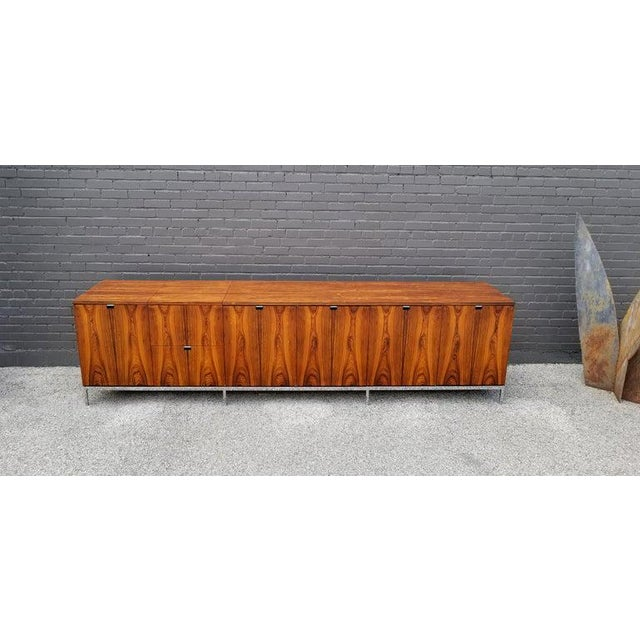 Knoll International Custom Bookmatched Brazilian Rosewood Florence Knoll Media Cabinet For Sale - Image 4 of 13