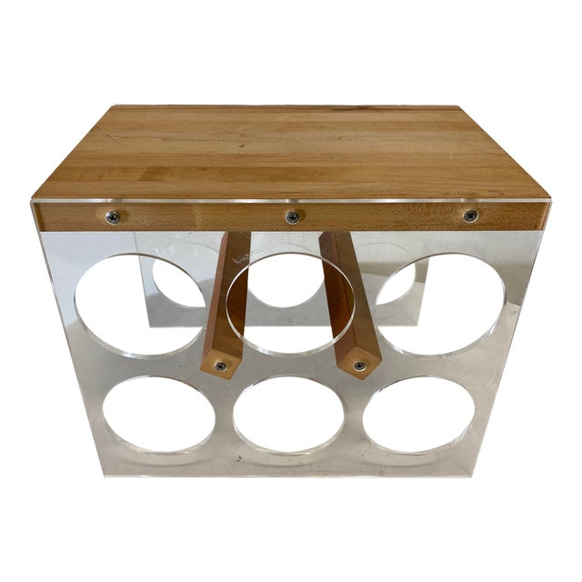 Mid-Century Lucite and Butcher Block Wine Holder and Cheese Board For Sale
