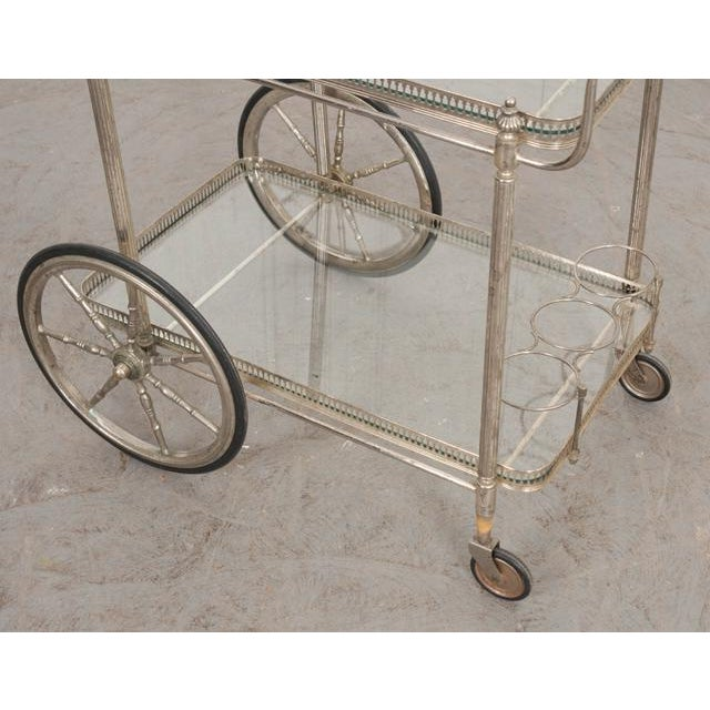 1940s French Vintage Silver Bar Cart For Sale - Image 5 of 13