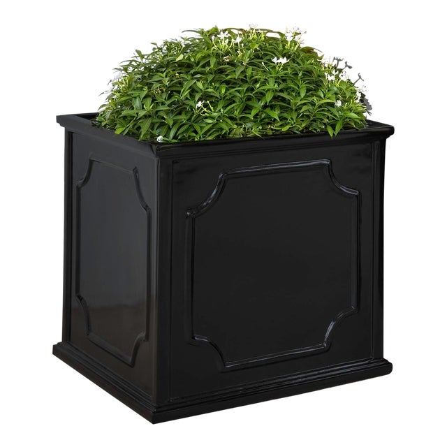 Thorney Square Planter, Medium, Glossy Black For Sale